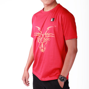 Live-Lived Red Crew Neck T-shirt Men - Dragon Art (side view)