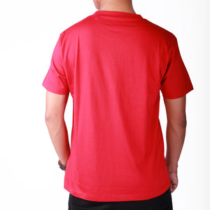 Live-Lived Red Crew Neck T-shirt Men (rear view)