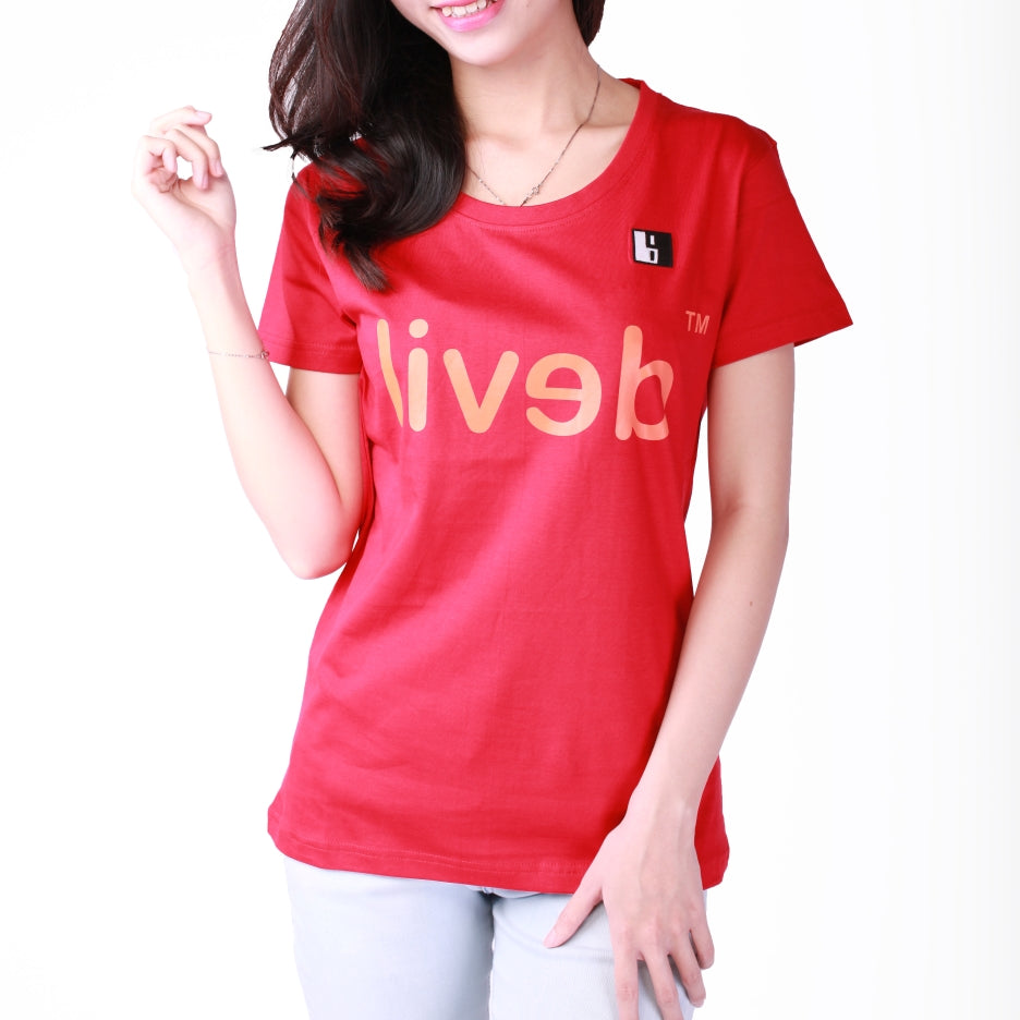 Live-Lived Red Crew Neck T-shirt, Short Sleeve- Women (Devil Mirror)