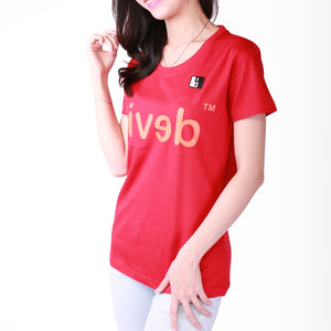 Live-Lived Red Crew Neck T-shirt, Short Sleeve- Women (Devil Mirror, side view)