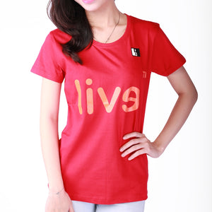 Live-Lived Red Crew Neck T-shirt, Short Sleeve- Women (Evil Mirror)