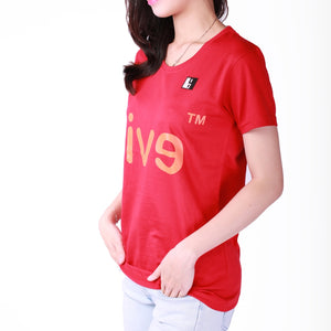 Live-Lived Red Crew Neck T-shirt, Short Sleeve- Women (Evil Mirror, side view)