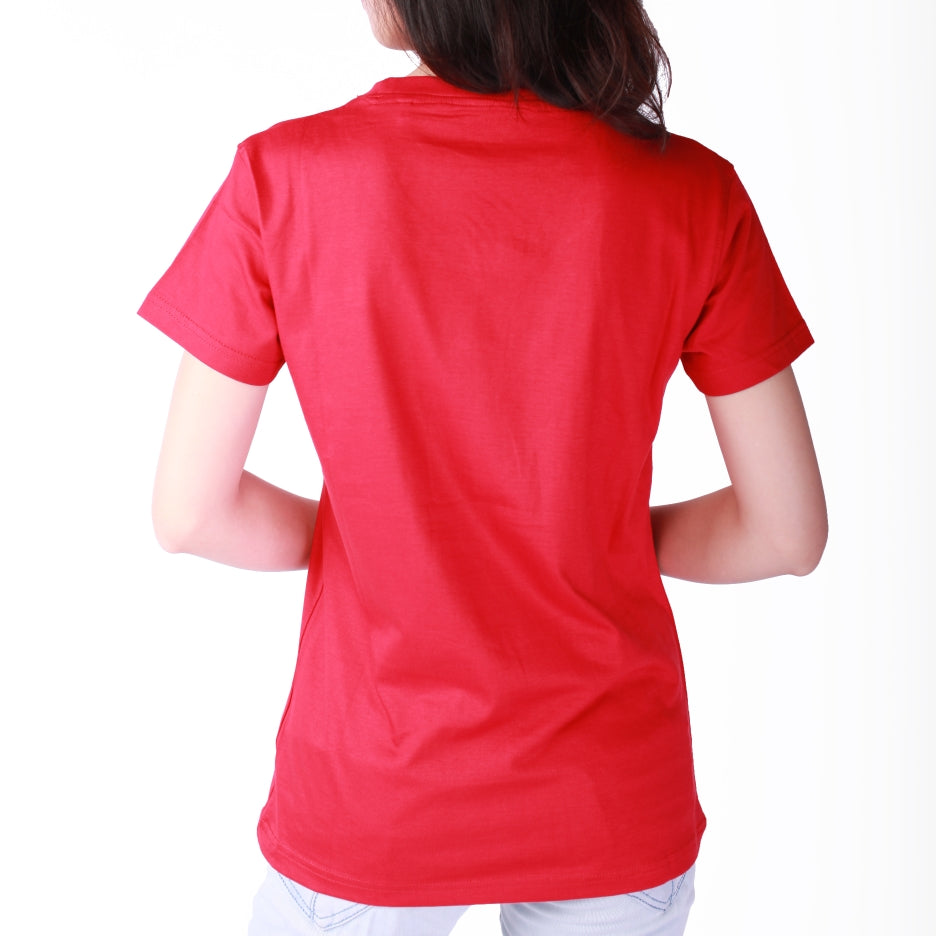 Live-Lived Red Crew Neck T-shirt, Short Sleeve- Women (rear view)