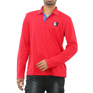 Live-Lived Red Polo T-shirt, full sleeve - Men