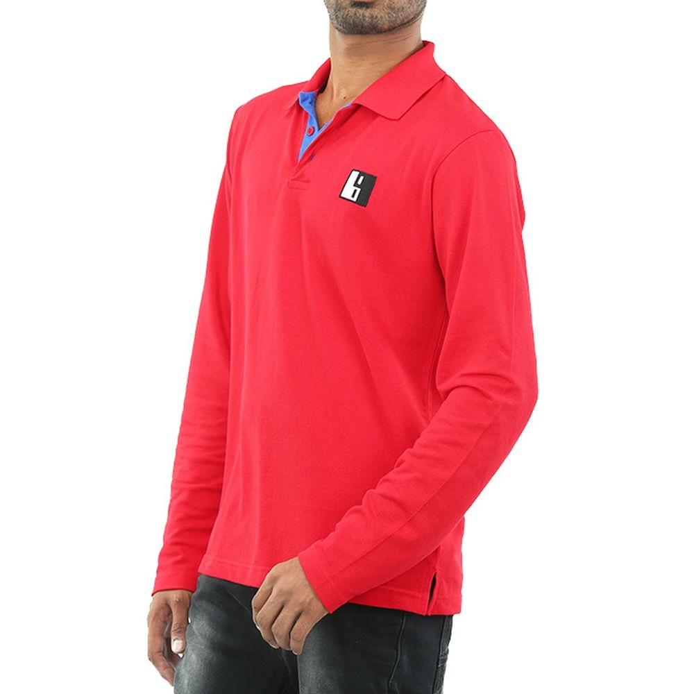 Live-Lived Red Polo T-shirt, full sleeve - Men (side view)