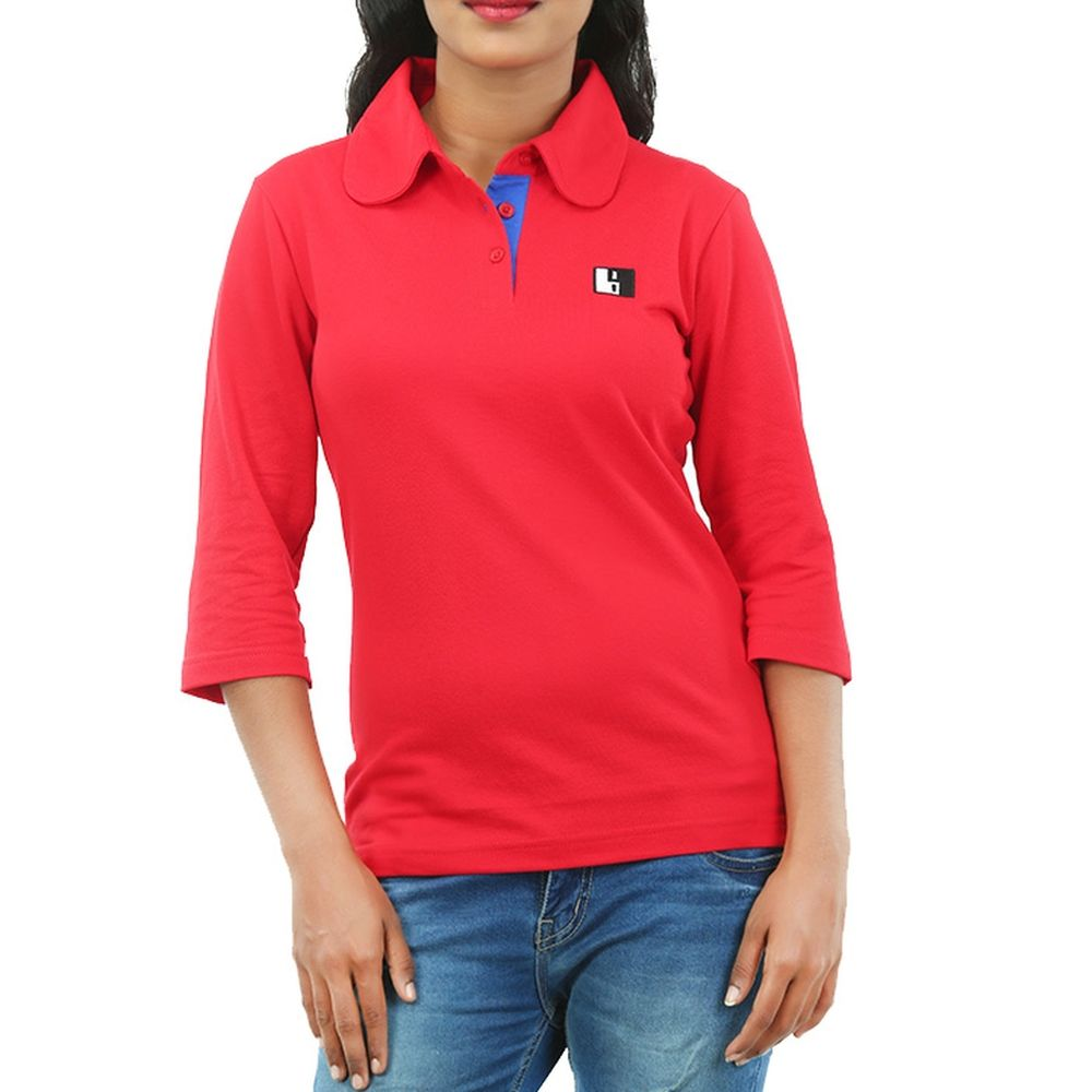Live-Lived Red Polo T-shirt long Sleeve 3/4 - Women