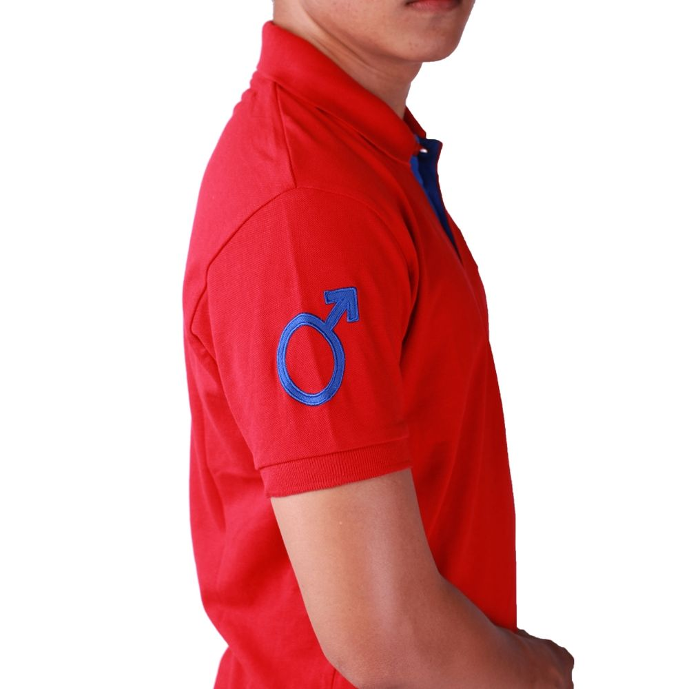 Red Polo T-shirt Short Sleeve - Men (side view, male symbol applique)