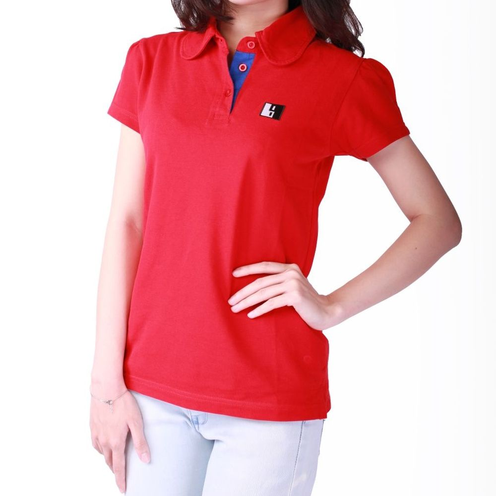 Live-Lived Red Polo T-shirt Puffed Short Sleeve- Women