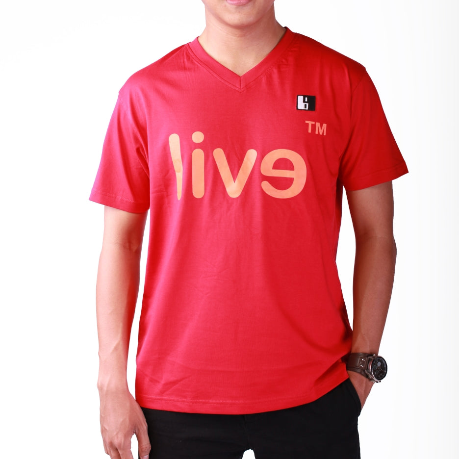 Live-Lived Red V-Neck T-shirt Men - Evil Mirror