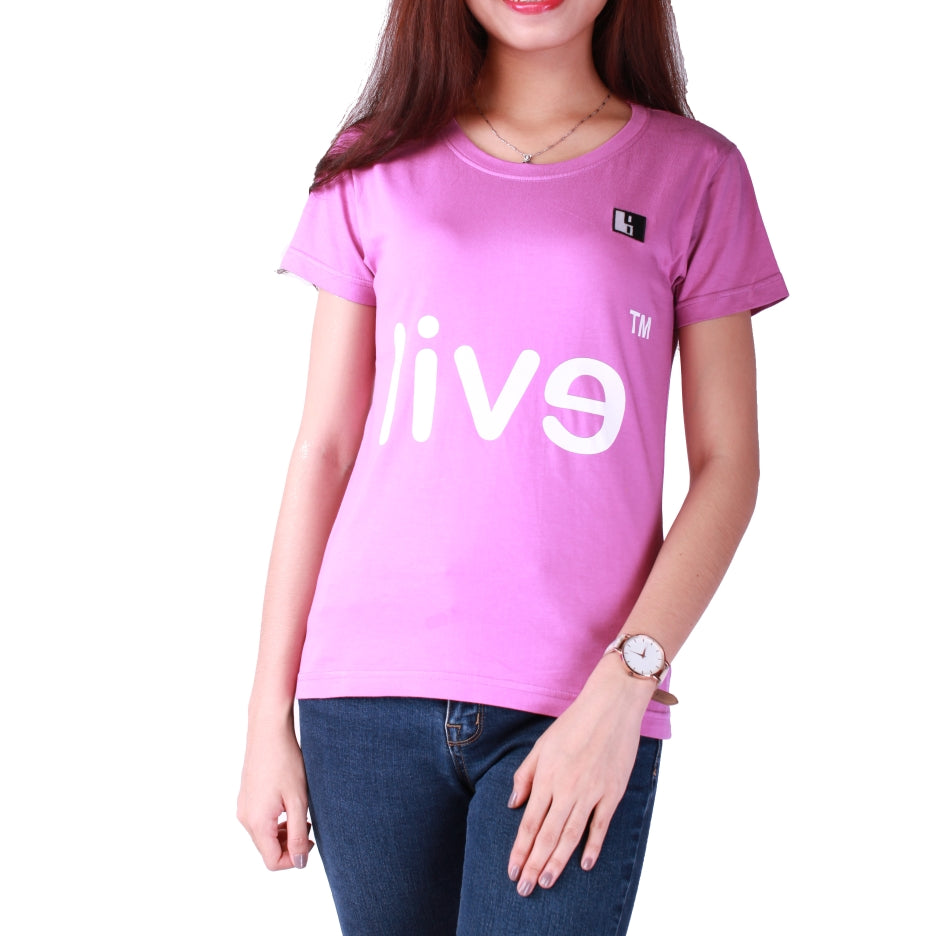Live-Lived Orchid Crew Neck T-shirt, Short Sleeve- Women (Evil Mirror)