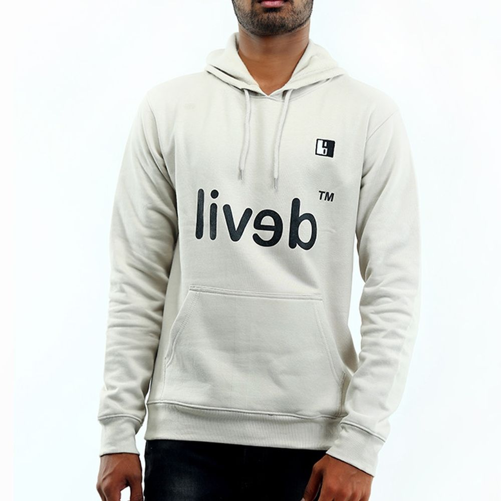 Live-Lived Silver Gray Hooded Sweatshirt - Men (Devil Mirror)