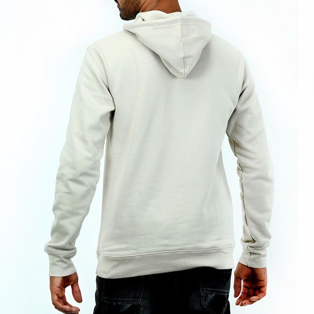 Live-Lived Silver Gray Hooded Sweatshirt - Men (rear view)
