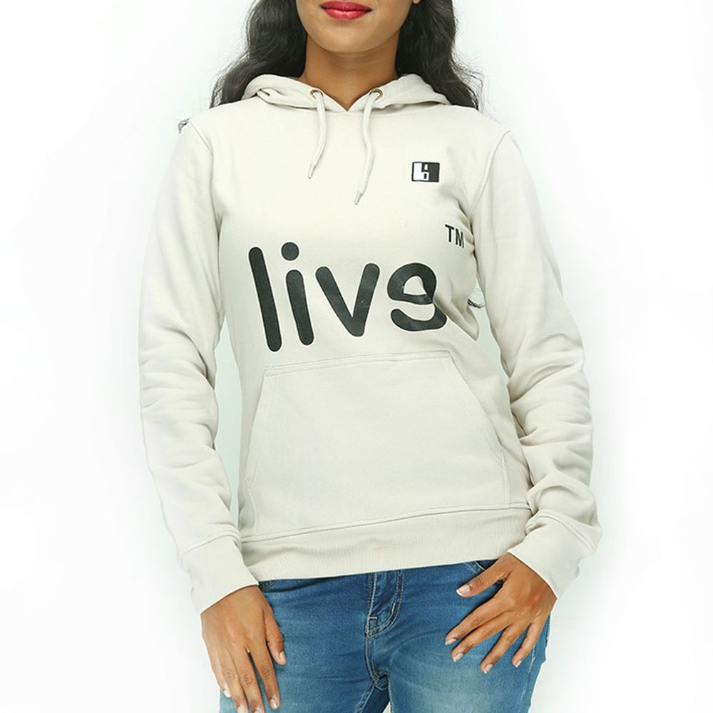 Live-Lived Silver Gray Hooded Sweatshirt - Women (Evil Mirror)