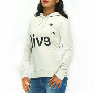 Live-Lived Silver Gray Hooded Sweatshirt - Women (Evil Mirror, side view)