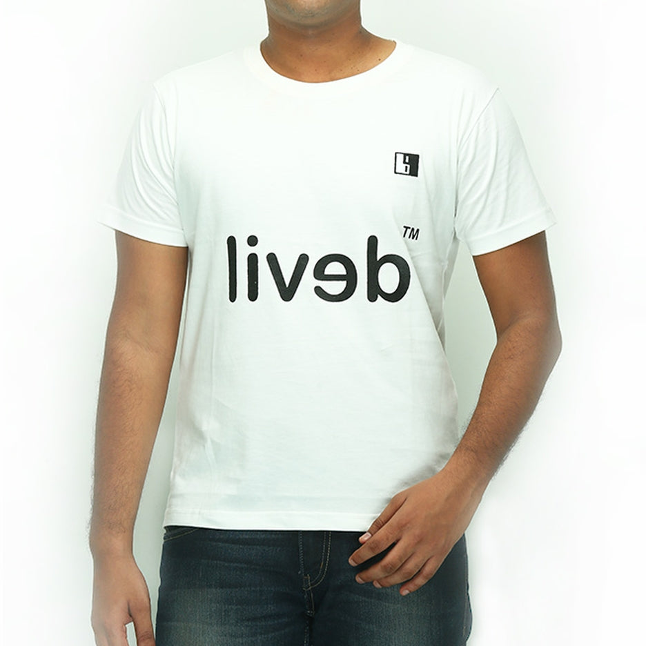 Live-Lived White Crew Neck T-shirt Men - Devil Mirror