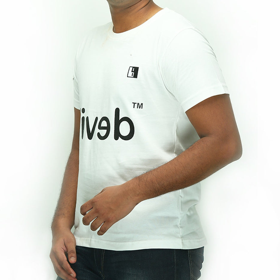 Live-Lived White Crew Neck T-shirt Men - Devil Mirror (side view)