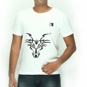 Live-Lived White Crew Neck T-shirt Men - Dragon Art