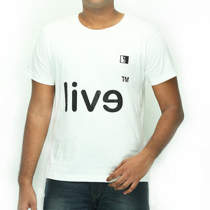 Live-Lived White Crew Neck T-shirt Men - Evil Mirror
