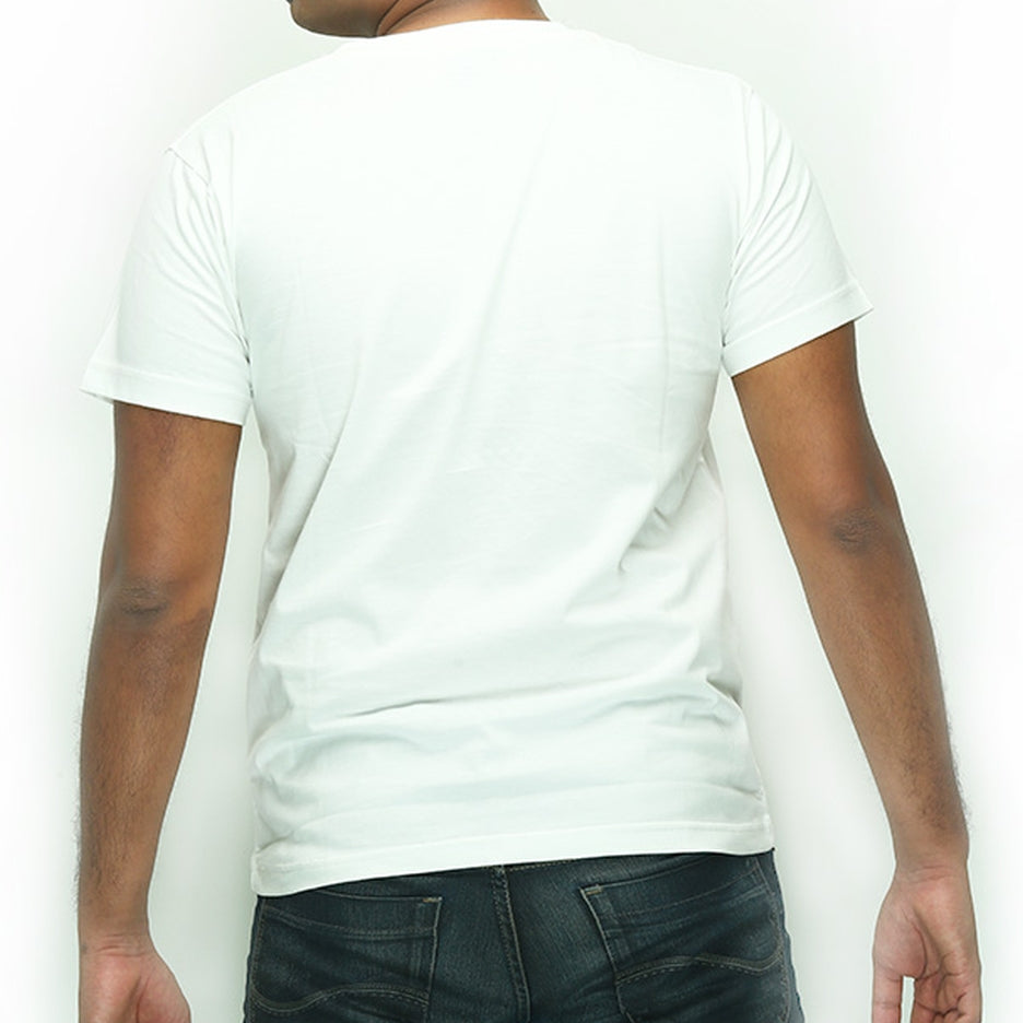 Live-Lived White Crew Neck T-shirt Men (rear view)