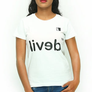Live-Lived White Crew Neck T-shirt Women - Devil Mirror