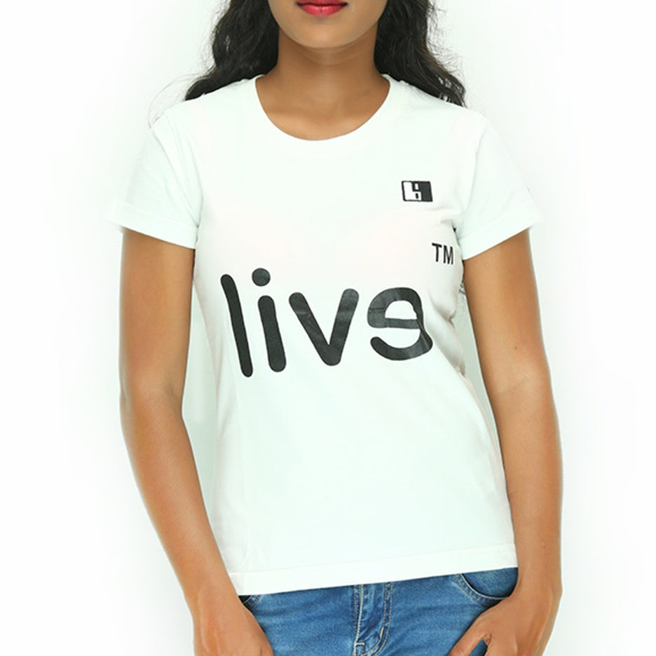 Live-Lived White Crew Neck T-shirt Women - Evil Mirror