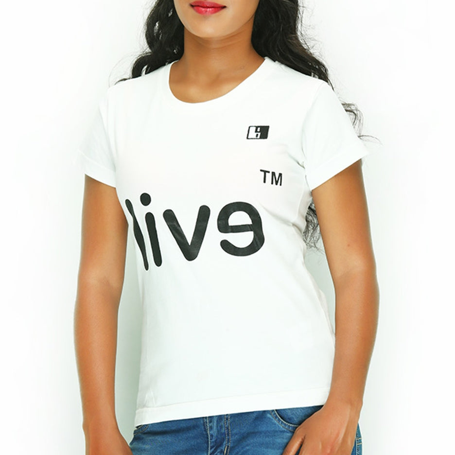 Live-Lived White Crew Neck T-shirt Women - Devil Mirror (side view)