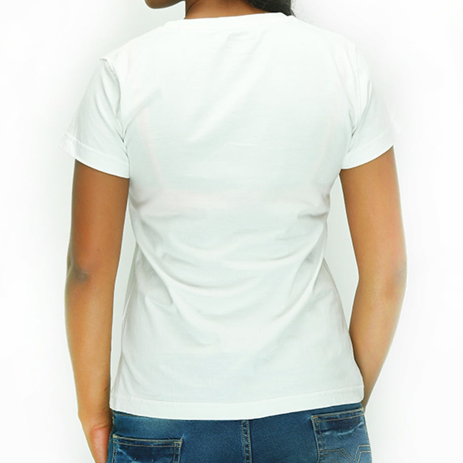 Live-Lived White Crew Neck T-shirt Women (rear view)