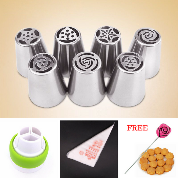BUNDLE OF JOY: 7 Russian Frosting Tips + Coupler + 100 Piping Bags + FREE Cake Tester