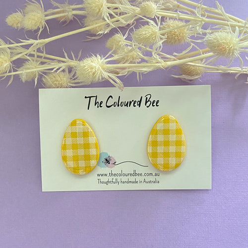 Easter Egg Studs - Yellow Gingham