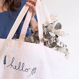 "Linen embroidered bag ""Hello"""