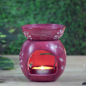 Brahmz Marble Tea Light Aroma Diffuser Burner Essential Oil Warmer Aromatherapy M 2 - Soapstone Candle Diffuser - Color Red Soapstone Candle