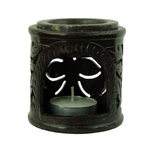 Brahmz Marble Tea Light Aroma Diffuser Burner Essential Oil Warmer / Aromatherapy - M-126 - Soapstone Candle Diffuser - Color Black