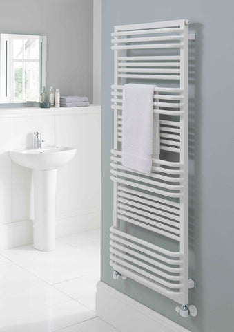 Poll Towel Rail - 1480mm H x 700mm W - White