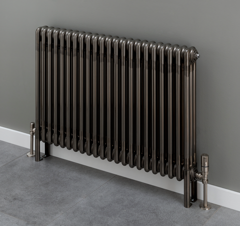 Cornel 4 Column Radiator - 600mm H x 834mm W - Bare Metal Lacquer