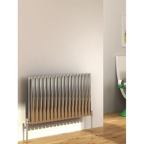 Cove Stainless Steel Double Horizontal Radiator - 600mm High x 413mm Wide