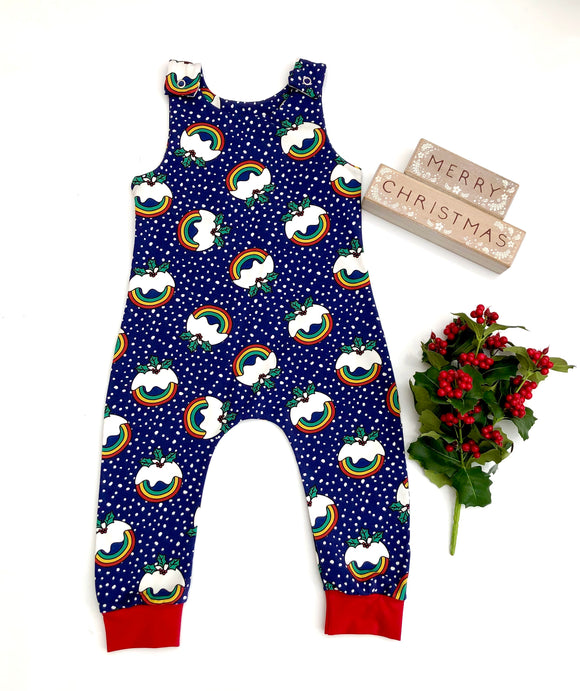 Organic rainbow Christmas pudding dungarees