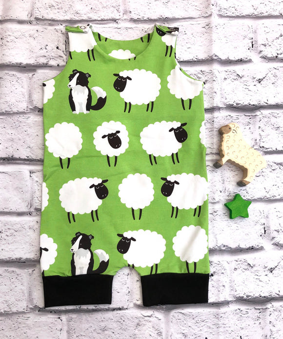 Organic Sheep shortie dungarees
