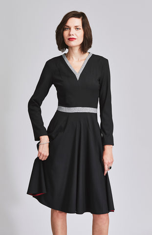 Black fit and flare office dress