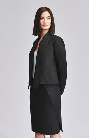 Black pencil skirt and suit jacket for work