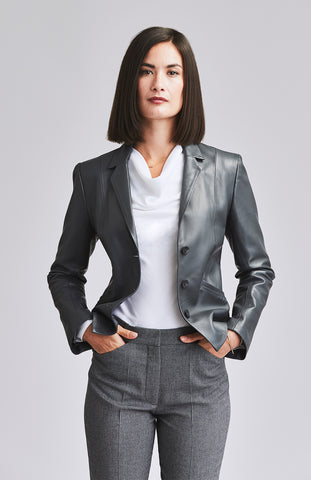 Grey leather blazer smart enough for work