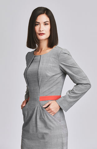 Long sleeve check dress with pockets for work