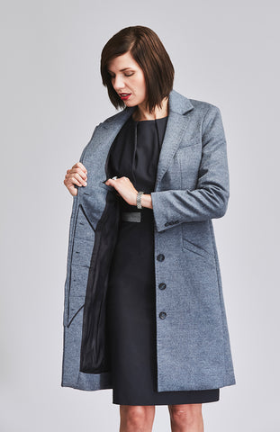 Blue tailored wool coat for women