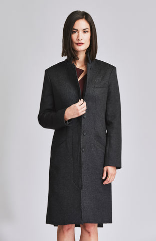 Charcoal wool tailored coat for women