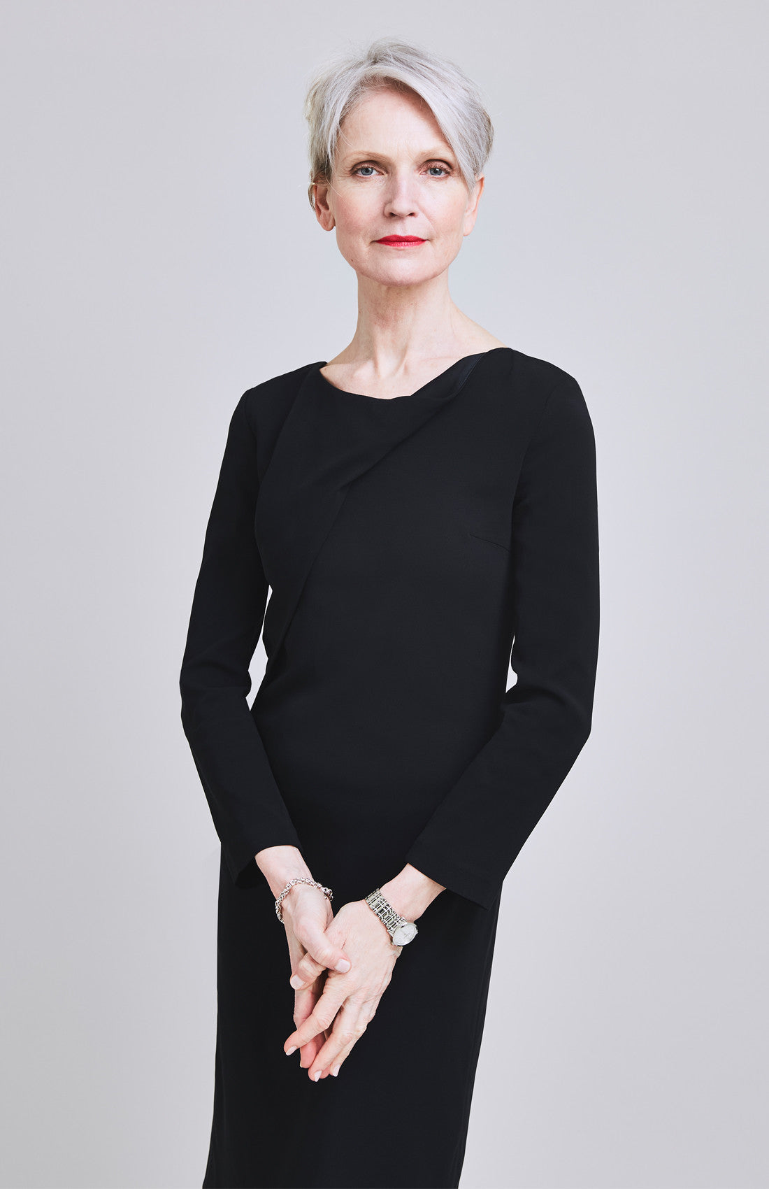 Long sleeve knee length black office shift dress for work