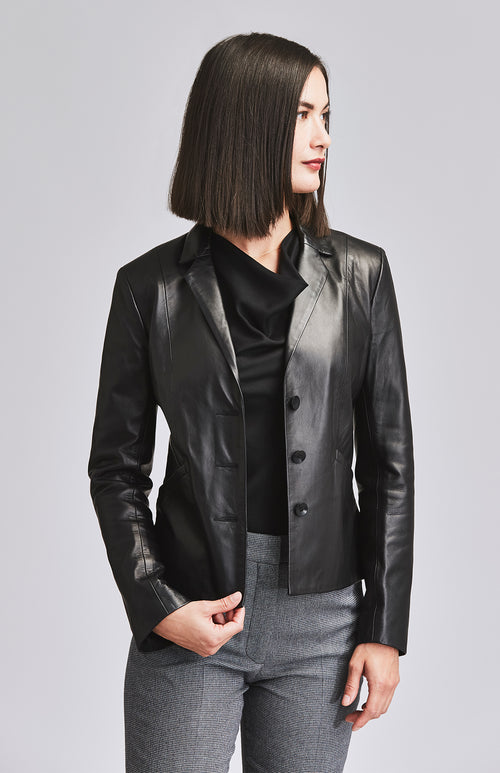 DEFIANT LEATHER BLAZER BLACK