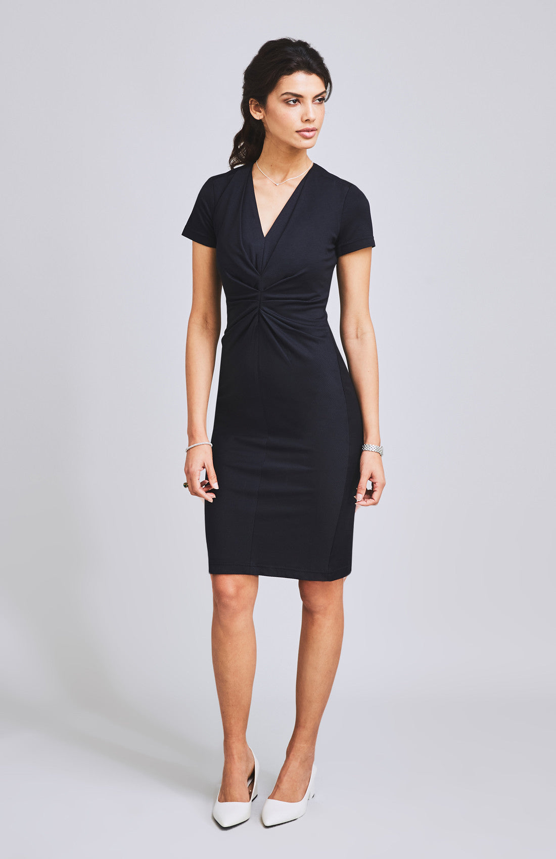 Flattering ruched and textured short sleeve jersey knee length office dress for work black