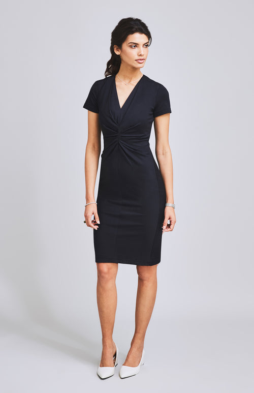 METTLE FLATTERING TEXTURED JERSEY DRESS BLACK