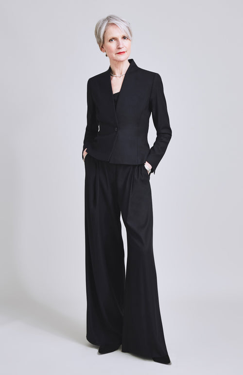 GRAVITAS WIDE LEG WOOL BLEND SUIT TROUSER BLACK