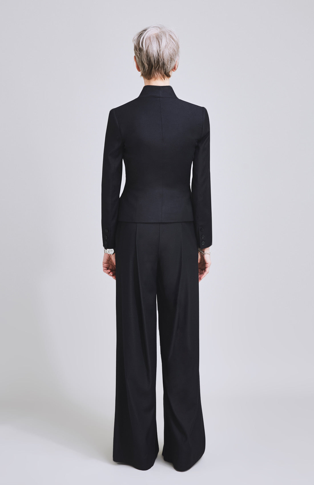 Women's luxury tailored high rise wide leg suit trouser for the office black