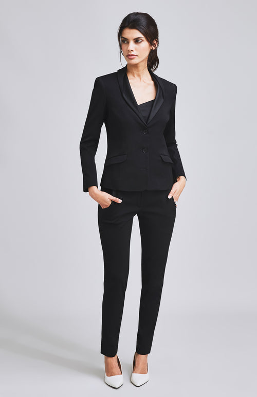 FORTITUDE TUXEDO TAILORED CIGARETTE TROUSER BLACK